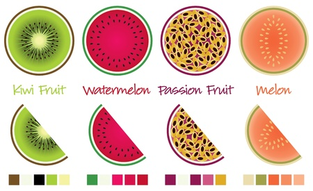 wedges: Fruit slices and wedges in vector format complete with swatches  Illustration