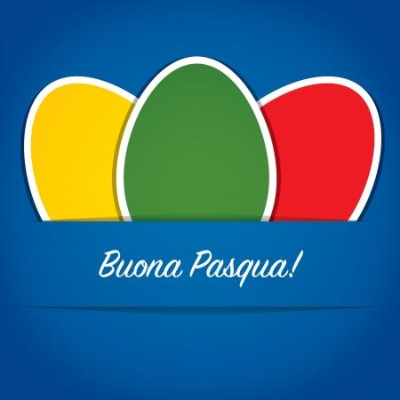 pasqua: Bright paper cut out Italian Happy Easter card Illustration