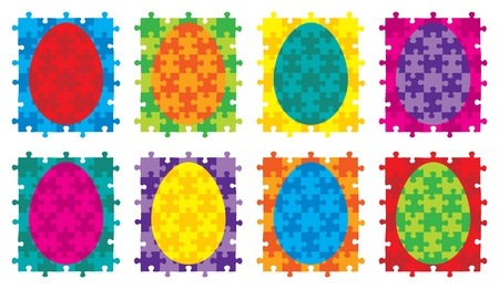 Jigsaw puzzle Easter egg  Vector