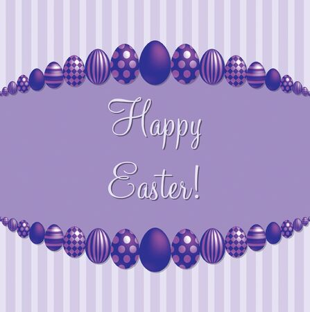 Purple  Happy Easter   card  Vector