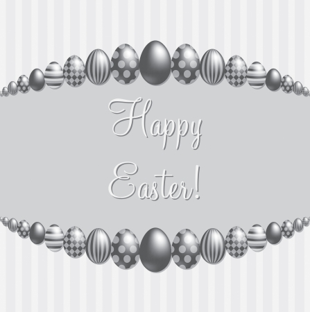 Silver  Happy Easter   card Vector