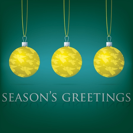 Bright Season s Greetings bauble card Vector