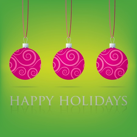 Bright Happy Holidays bauble card Vector