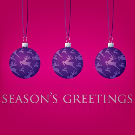 Bright Season s Greetings bauble card  Vector