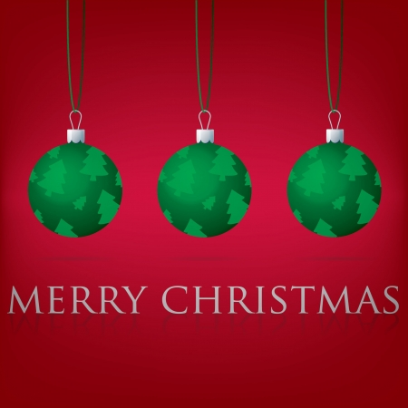 Bright Merry Christmas bauble card Vector