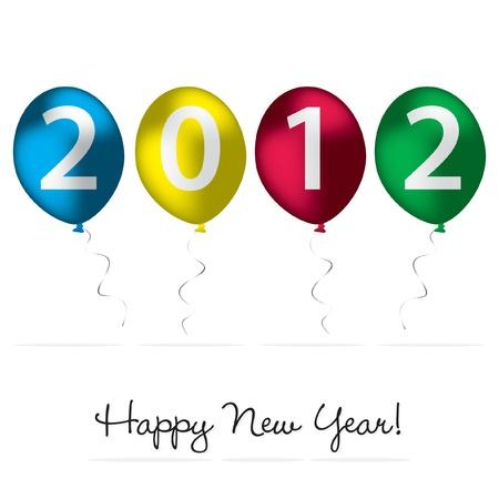 burgundy ribbon: 2012 Happy New Year card Vettoriali