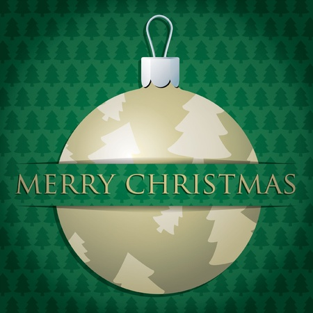 Gold tree patterned bauble  Merry Christmas  card Vector
