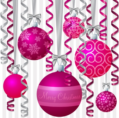 Pink ribbon and bauble inspired Christmas card  Vector