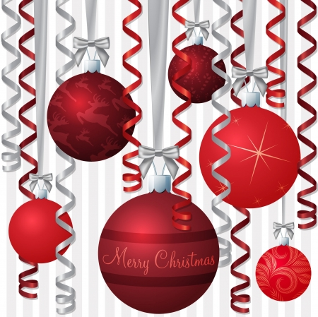 Ribbon and bauble inspired Christmas card  Vector