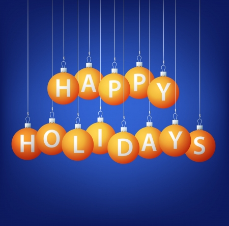 Happy Holidays hanging bauble card  Vector