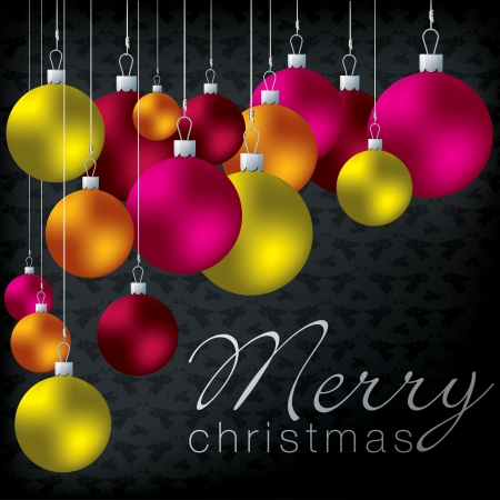 Bright group of baubles card  Vector