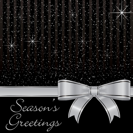 shine silver: Bow and stars Christmas card