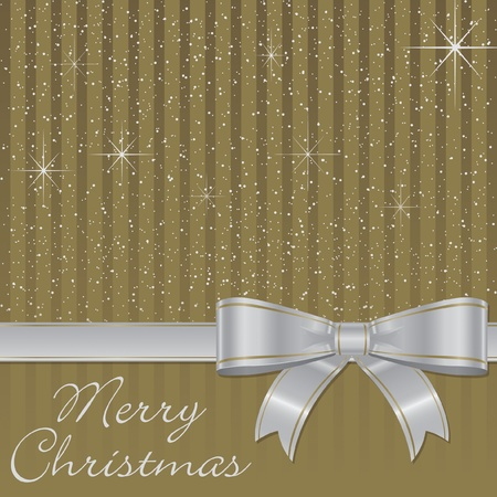 Bow and stars Christmas card  Vector