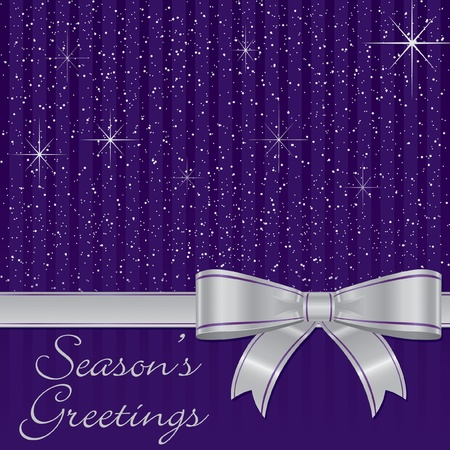 Purple bow and stars Christmas card Vector