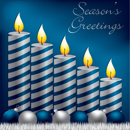 Season s Greetings candle, bauble and tinsel card Vector