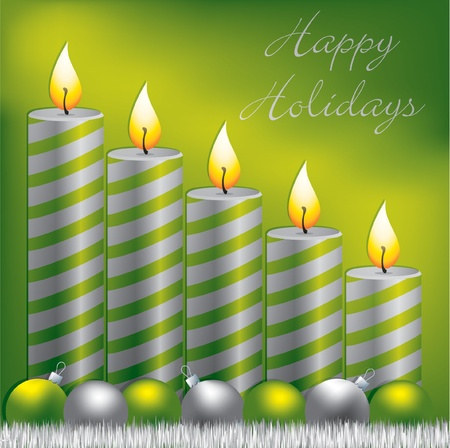 Happy Holidays candle, bauble and tinsel card Vector