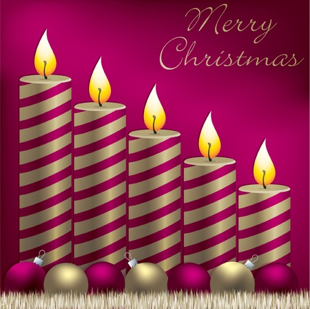 Merry Christmas candle, bauble and tinsel card  Vector