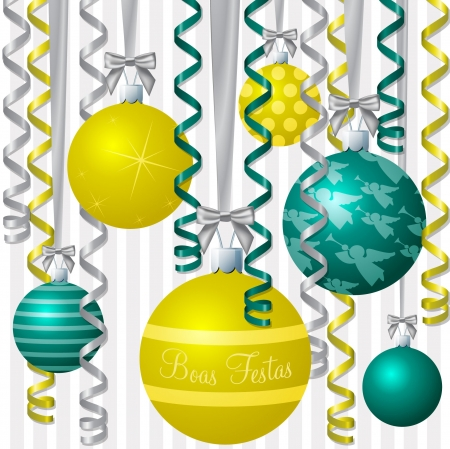 portugese: Brazilian Portuguese aqua and yellow ribbon and bauble inspired  Merry Christmas  card