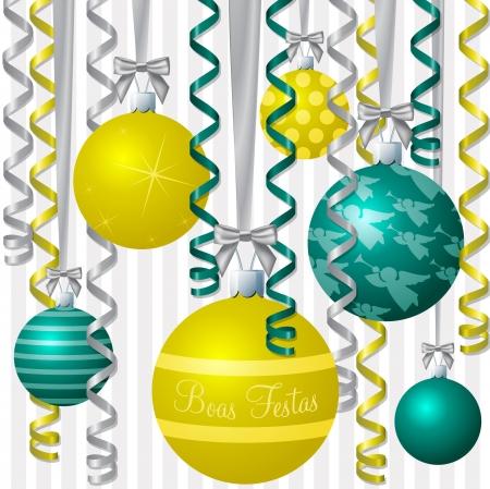 boas: Portoghese brasiliano aqua e nastro giallo e pallina ispirati Merry Christmas card