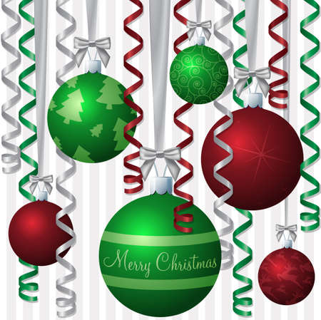English red and green ribbon and bauble inspired  Merry Christmas  card Vector