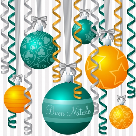 buon: Italian orange and aqua ribbon and bauble inspired  Merry Christmas  card
