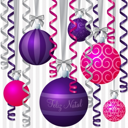 Portuguese pink and purple ribbon and bauble inspired  Merry Christmas  card Vector