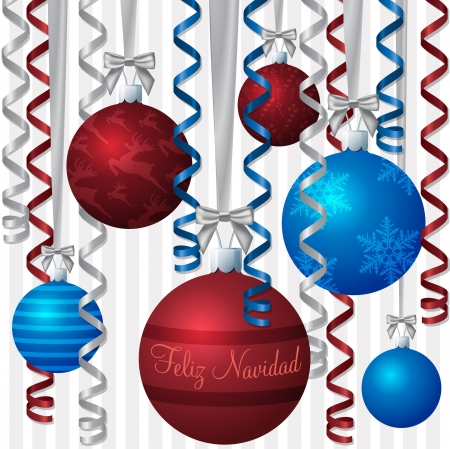 feliz: Spanish blue and red ribbon and bauble inspired  Merry Christmas  card