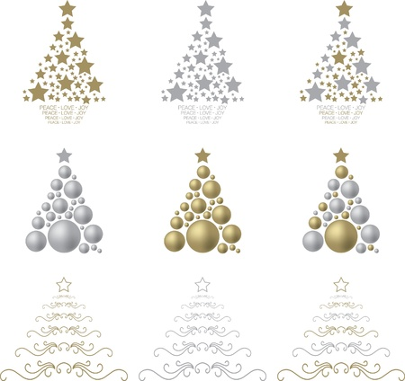 A selection of gold and silver stylised Christmas trees on a white background  Vector