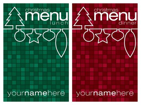dinner party: Red and green mosaic line Christmas lunch and dinner menus  Illustration