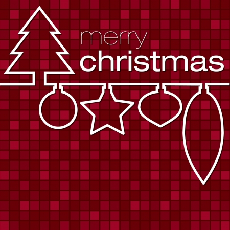Red mosaic line Christmas card  Vector