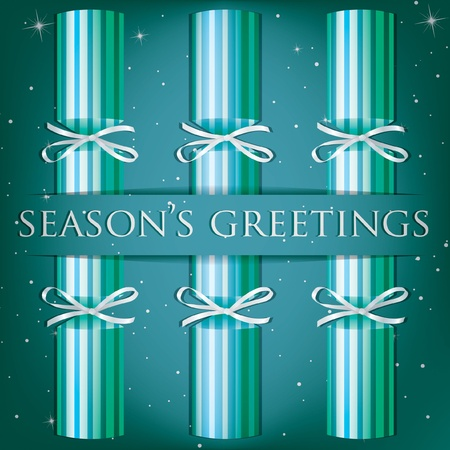 Season s Greetings stripe cracker card Vector
