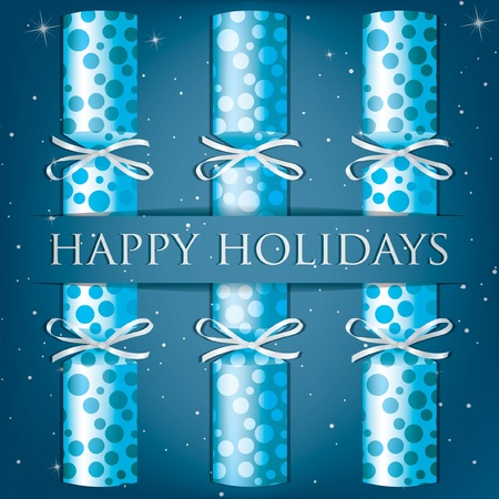 Happy Holidays spotty cracker card Vector