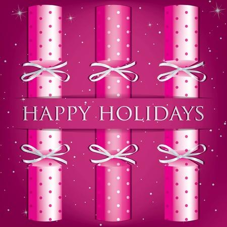 Happy Holidays spotty cracker card  Vector