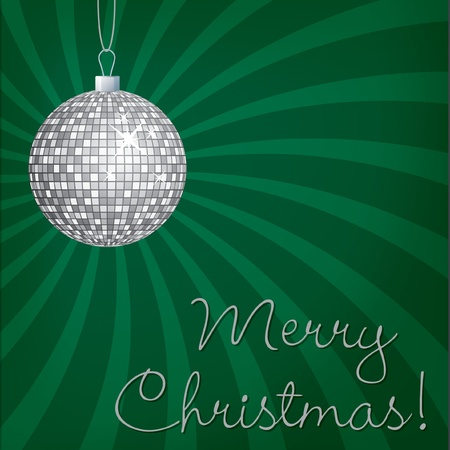 Silver mirror ball Merry Christmas card Vector