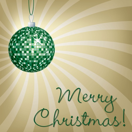 Green mirror ball Merry Christmas card  Vector