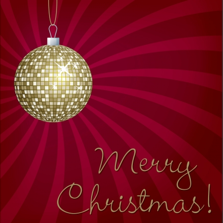 Gold mirror ball Merry Christmas card Vector