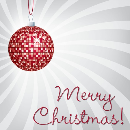 Red mirror ball Merry Christmas card Vector
