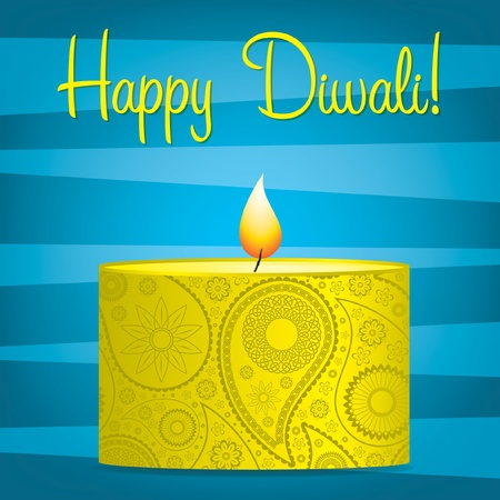 Bright blue and yellow Diwali card  Vector