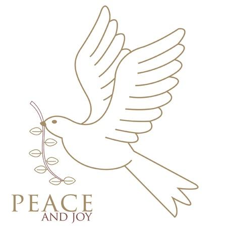 simbolos religiosos: La paloma de la paz en vuelo en oro con una ramita de olivo marr�n en �l s pico dibujado por nuestras tarjetas de Navidad personales Vectores