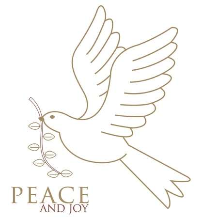 The Dove of peace in flight in gold with a brown olive twig in it s beak drawn for our personal Christmas cards  Illustration