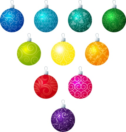 fuschia: A illustration of different patterned Christmas baubles on a white background  Illustration