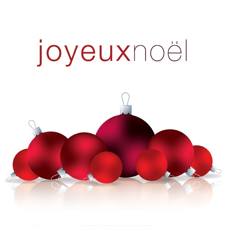 French Merry Christmas bauble card