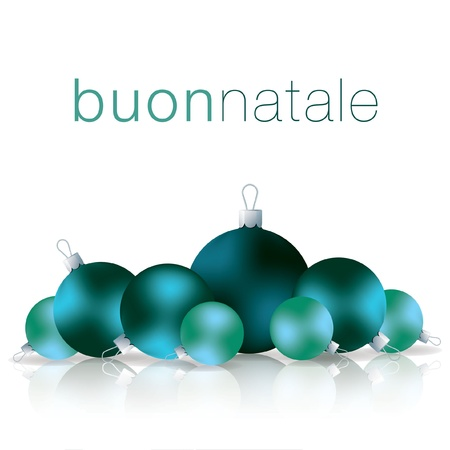 Italian Merry Christmas bauble card Vector
