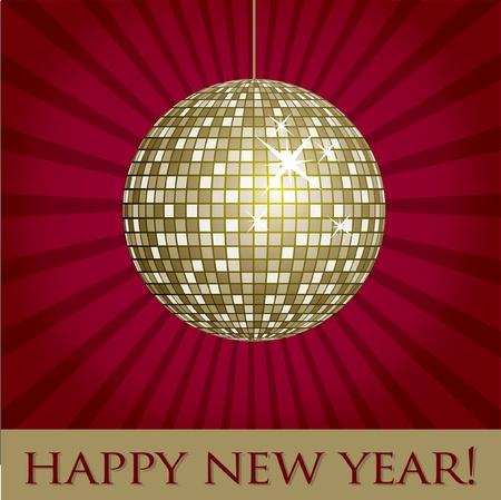 mirrored: Disco ball fun happy new year card
