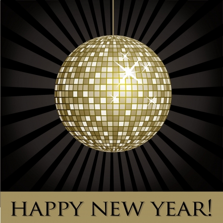 Disco ball fun happy new year card  Vector
