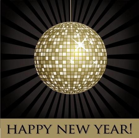 mirrored: Disco ball fun happy new year card  Illustration