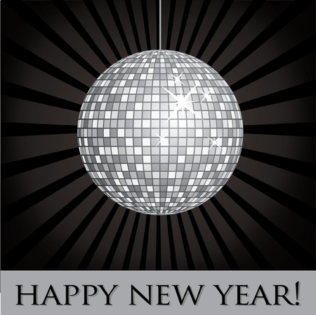 nineties: Disco ball fun happy new year card