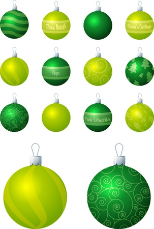 A illustration of lime and green different patterned Christmas baubles on a white background  Vector