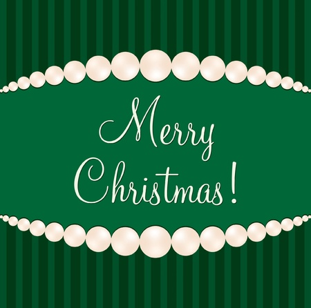 Green pearl Christmas card Vector