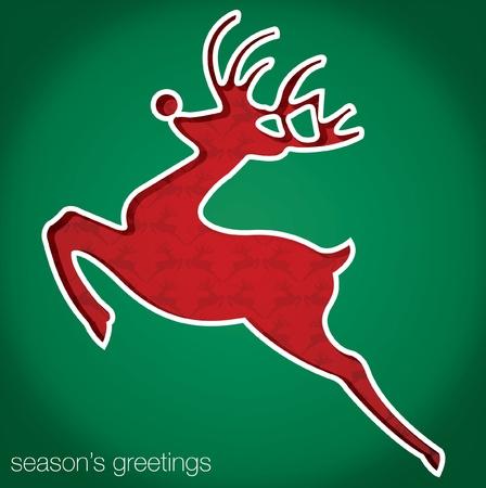 Reindeer  Season s Greetings  cut out card Vector